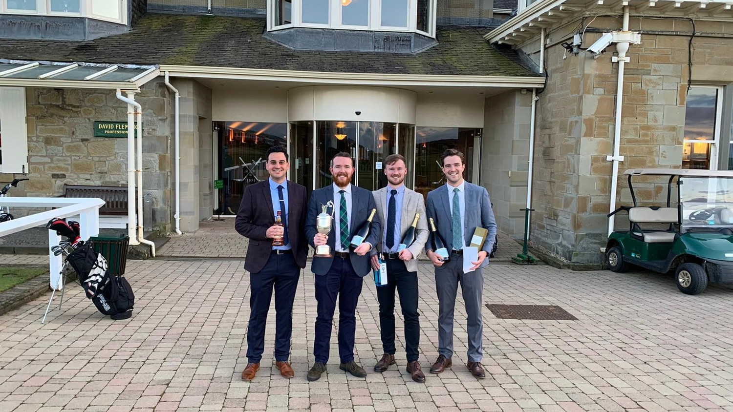 CRGP Outside Prestwick Golf Club after taking part in the Mental Health Foundation Golf Pro Am Competition