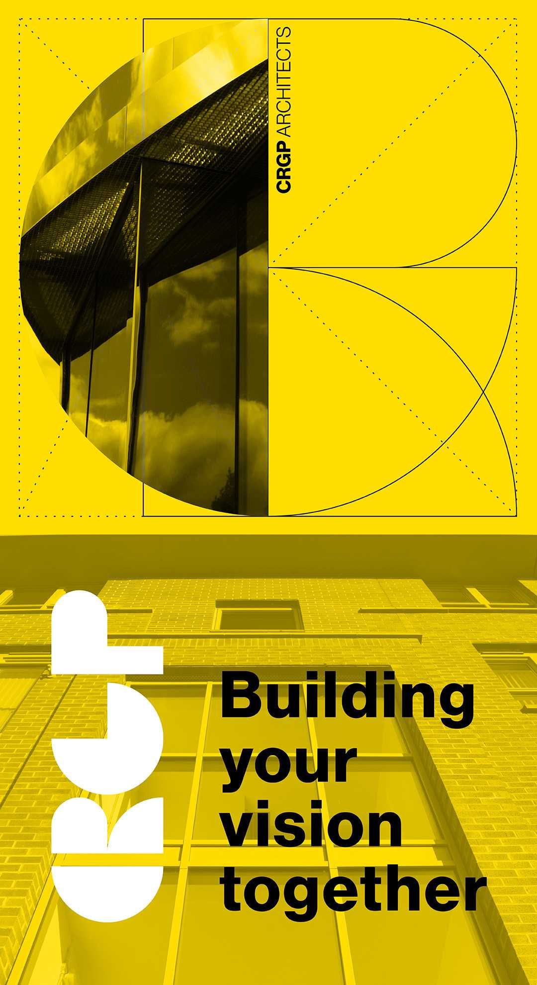 CRGP Homepage banner for mobile, showing a stylised, half-circle crop of a completed building project to the top, with the CRGP logo and tagline 'Building your vision together' to the bottom