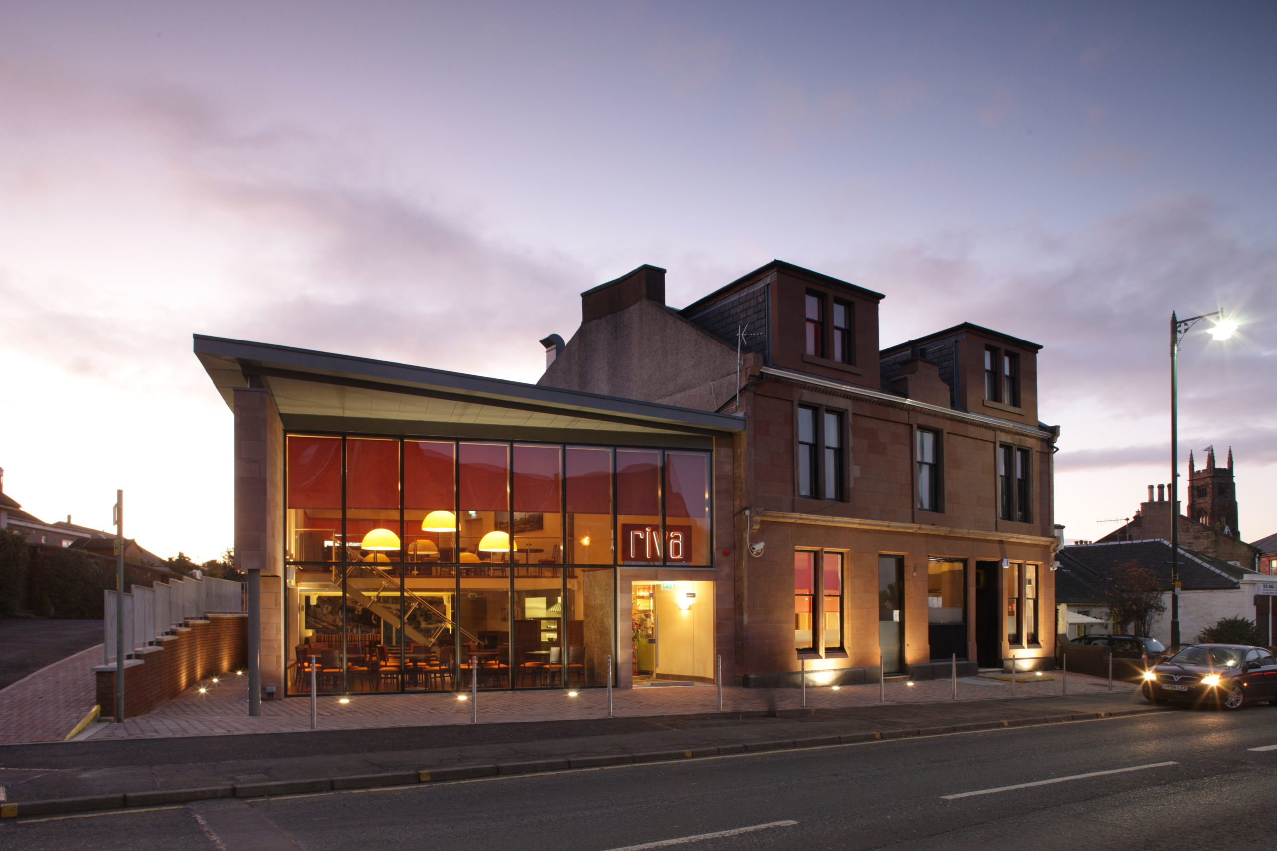 External view of the RIVA Restaurant project completed by CRGP